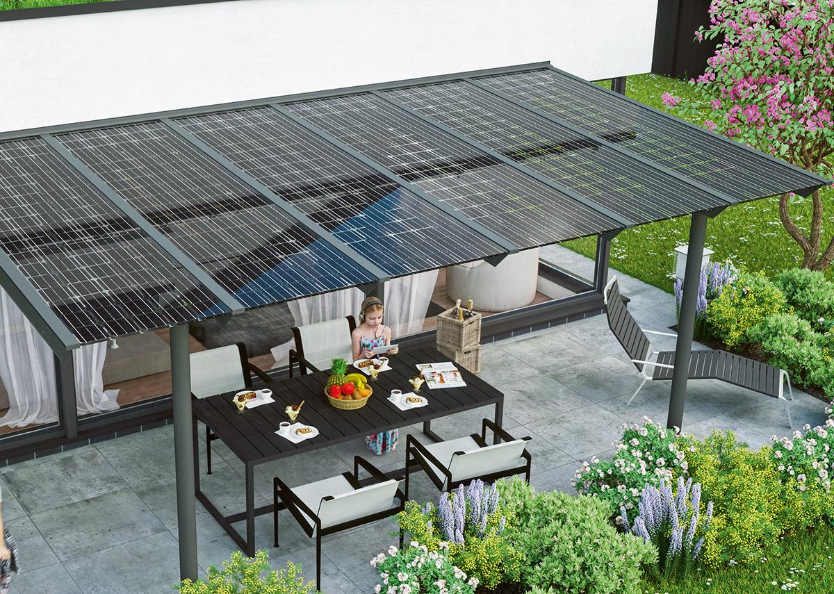 Solarterrasse: Sonnenschutz und Stromversorgung